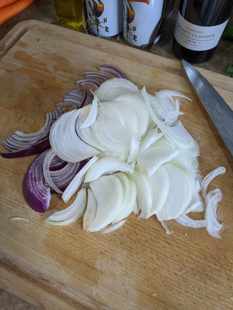 Julienne onions for Midwest Cooks Irish Coddle