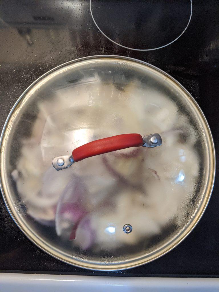 Midwest Cooks Irish Coddle Sweating onions